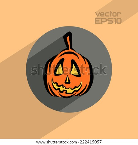 Halloween pumpkin flat icon, vector illustration 4 your design, eps10 3 layers
