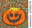 Halloween pumpkin on seamless bubbles backdrop, vector illustration - stock vector