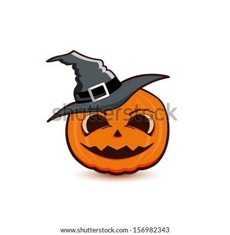 Halloween pumpkin with black witches hat