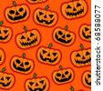 Halloween Pumpkins vector pattern in orange background - stock photo