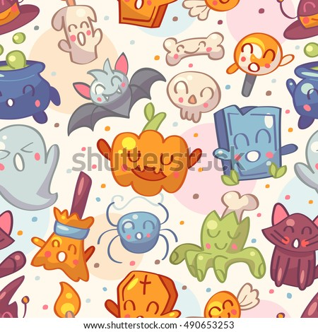 Halloween seamless pattern with cute characters. Vector illustration.