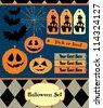 halloween set. vector illustration - stock vector