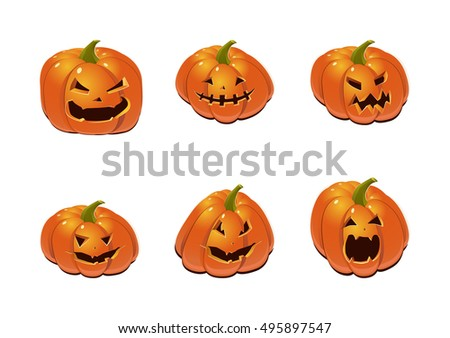 Halloween set with pumpkins