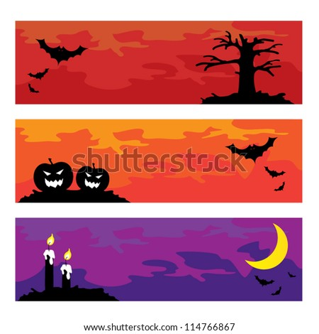 Halloween spooky banners, holiday concept, vector illustration