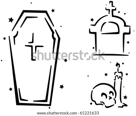 Tombstone Templates For Halloween | Halloween Stencil Featuring Coffin Tombstone Skull Stock Vector