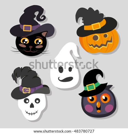 Halloween stickers - heroes in witch hats