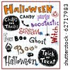 halloween text, vector doodles - stock vector