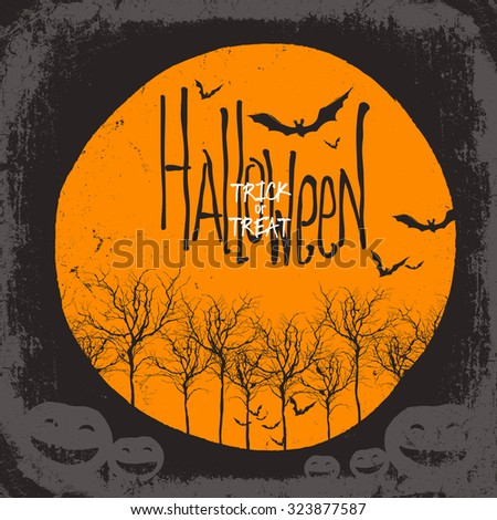 Halloween vector background. Dry tree and pumpkins. Full moon and bats