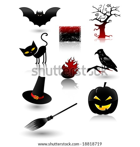 Halloween vector elements icon set, collection, with spooky characters.