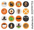 Halloween Vector Flat Icon Set with Candy, Black Cat, Store, Voodoo Doll, SpiderWeb, Eye in Blood, Coffin, Bones, Witch Hat, Zombie, Bat, Scythe, Vampire, Candle, Witch and Werewolf - stock vector