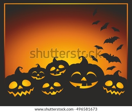 Halloween vector illustration with pumpkins, bats and place for a text. Halloween background card.