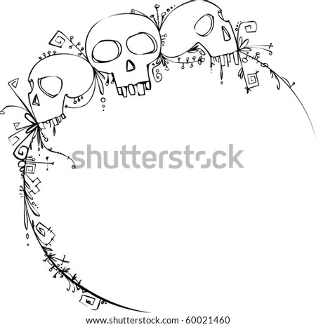 Halloween vignette with skulls