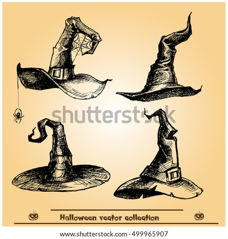 Halloween witch hats.. Vector collection.Hand drawn illustration.Line art. Doodle.