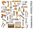 Hammers, wrenches, saws, knives, scissors, screwdriver, trowels, wheelbarrow, spatula, pliers, axe, bench vice, level ruler, paint roller and brush, tape measure, jack plane, screws and nails, toolbox - stock vector