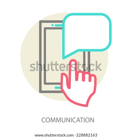 Hand and  smartphone. Chat application template ,can place your own text in the message boxes. Line vector illustration eps 10