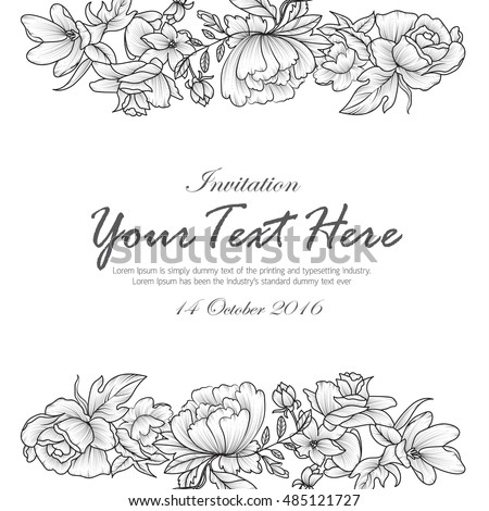 Vintage Delicate Invitation Flowers Wedding Marriage – Black and White Invitation Cards