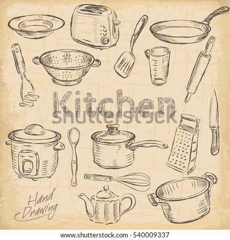 Big set kitchen vintage sketch utensils stock vector for Kitchen set drawing