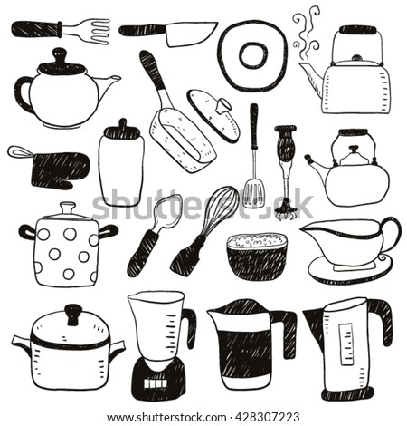 Set kitchen appliance household utensils hand stock vector for Kitchen set drawing