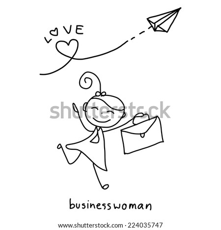 hand drawing cartoon character concept happy business