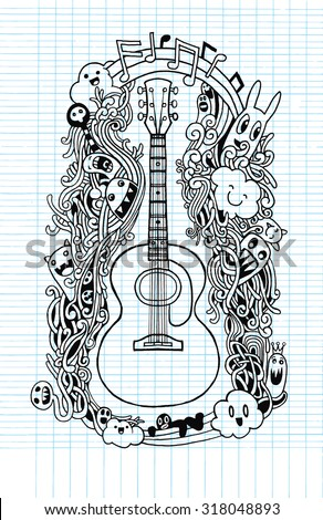 Hand drawing Doodle acoustic guitar,Flat Design.,drawing style Pen on Paper Notebook.Vector illustration.
