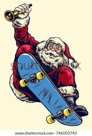 Santa Claus Drive Truck Full Christmas Stock Vector Click Santa Claus Skateboard