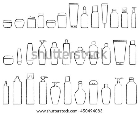 hand drawing set of cosmetic bottle silhouette on white background