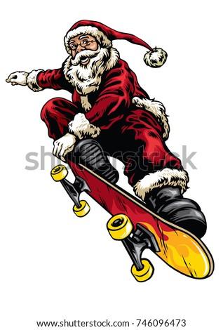Santa Claus Ride Skateboard Vintage Hand Stock Vector Click Santa Claus Skateboard