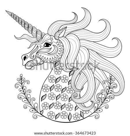 Coloring Pages Unicorn Head : Hand drawing unicorn adult anti stress stock vector 364673423