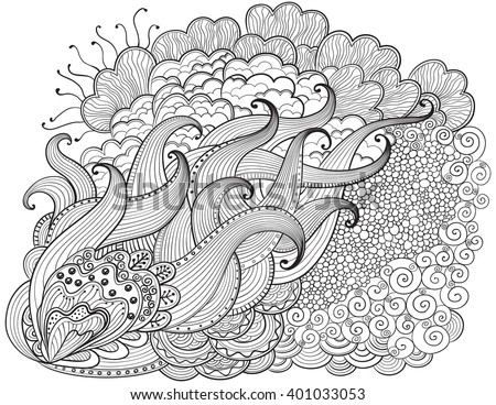 Hand drawn abstract  background. Vector outline abstract wavy drawing. Coloring book for adult and children. Coloring page.
