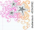 Hand-Drawn Abstract Stars Sketchy Notebook Doodles Design Elements on Lined Paper Background- Vector Illustration - stock vector