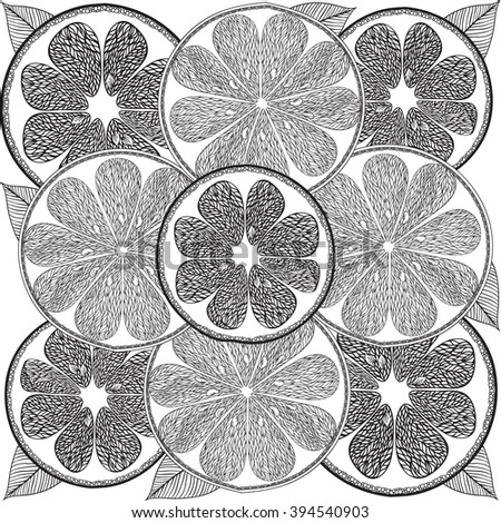 Hand Drawn Adult Coloring Page Citrus Fruit In Doodle Tribal Style For Book