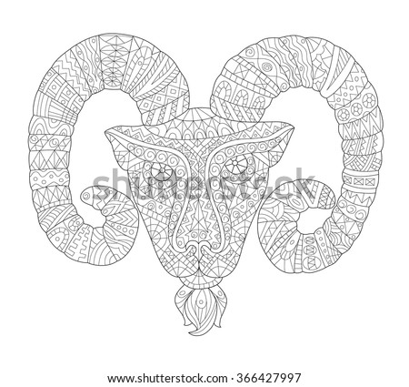 Long horn sheep coloring pages ~ Vector Decorative Sheep Patterned Horns Patterned Stock ...