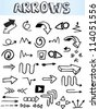 Hand-drawn arrows collection - stock vector