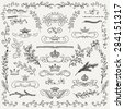 Hand Drawn Artistic Black Doodle Design Elements. Decorative Floral Crowns, Dividers, Branches, Swirls, Wreaths. Vintage Hand Sketched Vector Illustration. Pattern Brashes - stock vector