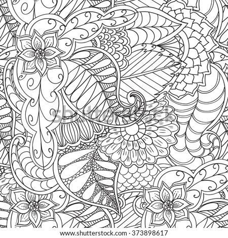 Hand Drawn Bird Coloring Page Vectores En Stock 298186925