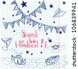 "Hand drawn ""Back to School"" set. Notebook doodles with lettering, paper boat, paper plane, stars, waves and bunting . Vector Illustration. Design elements on squared notebook paper. Background. - stock vector"