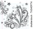 Hand-Drawn Back to School Starbursts and Stars Sketchy Notebook Doodles Vector Illustration Design Elements on Lined Sketchbook Paper Background - stock vector