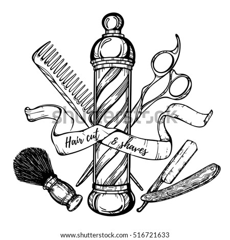 Hand drawn barbershop vintage illustration hair stock for Razor pen for hair tattoo
