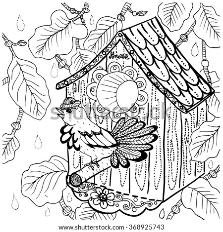 Owl Drawing Coloring Page Black Outlines Stock Vector 367530314