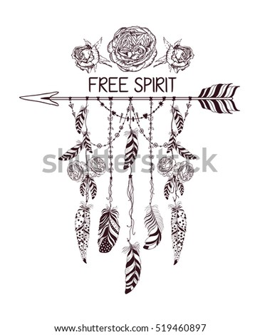 Hand drawn boho style design with rose flower, arrow and feathers. Hippie fashion decoration for t-shirt or tattoo. Ethnic Style with motivate Slogan and Quote .