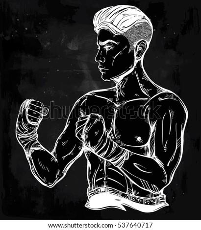 Illustration Ferocious Bodybuilder Dumbbell Stock Vector