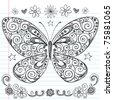 Hand-Drawn Butterfly Sketchy Notebook Doodle Design Elements with Swirls and Flowers- Vector Illustration on Lined Sketchbook Paper Background - stock vector