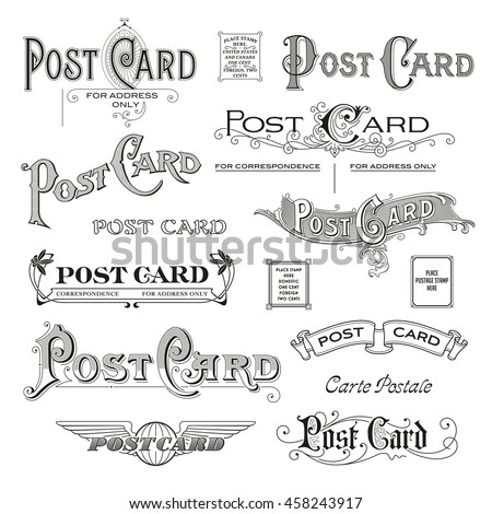hand drawn calligraphic design elements/headers for postcard backsides