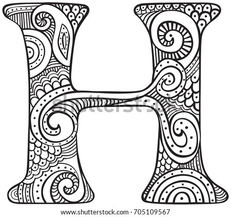 Hand Drawn Capital Letter P Black Stock Vector 699975214 Letter H Coloring Pages