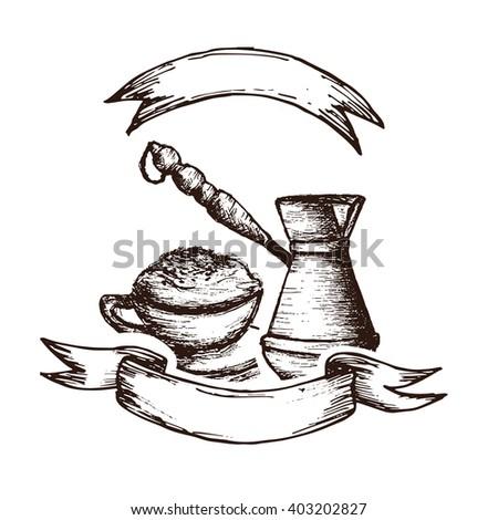 Italian Coffee Maker Vector : Bakery Sketchhand Drawn Illustration Sack Grain Stock Vector 216928591 - Shutterstock