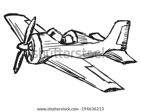 hand drawn, cartoon, sketch illustration of cartoon airplane