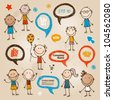 Hand-drawn children and speech bubbles set - stock vector