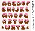 hand drawn chocolate cartoon alphabet with pink topping - stock photo