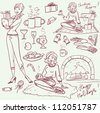 Hand drawn Christmas holiday set, winter holidays elements, sketch - stock vector