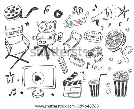 Set Hand Drawn Cinema Doodles Stock Vector 289323101